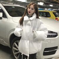 韩版原宿风中长款宽松加厚长袖棉衣女秋冬新款学生加厚面包服外套