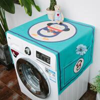 滚筒洗衣机罩冰箱盖布防尘防晒罩防水盖巾微波炉北欧风床头柜棉麻 防尘防晒---蓝企鹅 ( ) 65*65 (床头柜通用)