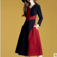 2018秋冬季速卖通欧美新款女装 长袖领撞色拼接字连衣裙 红蓝色