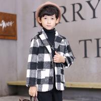 冬季中大童男童上衣外套MG3-5-8-13岁呢子大衣 黑色 男童外套 童装外套