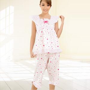 金丰田睡衣女夏 纯棉短袖韩版 清新甜美可爱套装 女士家居服1252