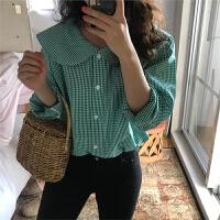 网红小清新衬衣春装韩版格纹娃娃领衬衫减龄显瘦长袖衬衣女上衣