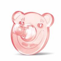 母婴新生儿全硅胶安抚奶嘴 婴儿硅胶安睡奶嘴 小熊L码 粉色