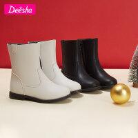 【限�r��券后�A估�r:71】笛莎女童�和�皮靴2020冬季新款�r尚洋�庋プ有∨�孩��s中筒皮靴