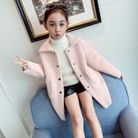 小女孩洋气保暖大衣2019新款韩版儿童毛绒风衣女童秋冬装外套