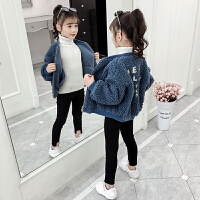 2019新款韩版童装加绒加厚洋气大衣女童秋冬装毛呢外套