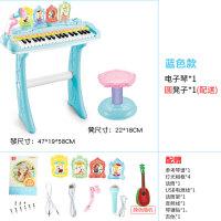 电子琴初学1-3岁宝宝多功能音乐弹琴儿童玩具女孩带话筒可唱歌 灯光相框电子琴天空蓝【送 圆凳、吉他1把】