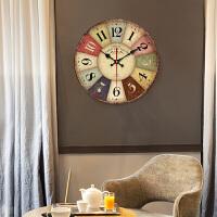 大气家用钟表现代壁挂钟客厅个性创意时尚挂表复古装饰 静音时钟nbm