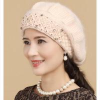 贝雷帽女秋冬天兔毛帽子毛线帽 加厚保暖妈妈帽潮 女中老年女士帽子
