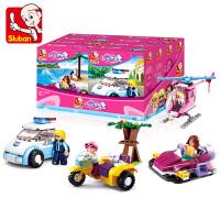 小鲁班拼装积木儿童盒装小型微颗粒 小积木女孩6-12岁玩具车 共四款 283颗粒(精美彩盒包装)