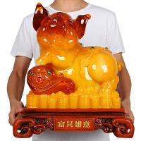 十二生肖福猪招财摆件工艺品办公室内桌上房间家居装饰品玉猪摆设 特