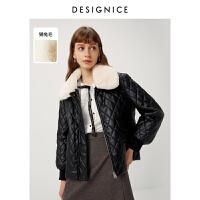 【�豳u精�x】迪�尼斯2020冬季新款�H兔毛毛�IPU皮�|花式穿搭棉衣短外套女士