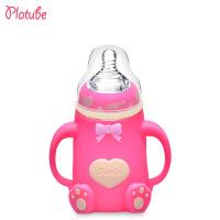 宽口径玻璃奶瓶带手柄硅胶套防摔防胀气婴儿奶瓶母婴用品
