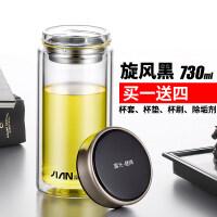 双层玻璃杯大容量带手柄办公杯520ml透明带盖有滤网杯子茶杯抖音
