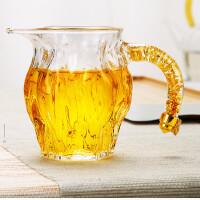 唐丰藏金侧把公道杯玻璃锤纹装茶器家用贪心杯透明分茶器