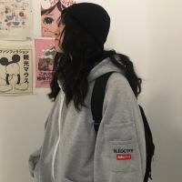 上衣女秋冬季新款韩版学生百搭宽松加绒加厚连帽卫衣外套 均码
