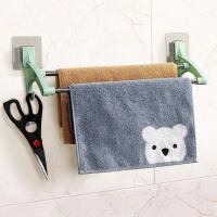 浴室挂毛巾架吸盘免打孔卫生间挂毛巾的架子毛巾挂架毛巾杆双杆