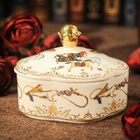 礼品化妆盒欧式复古珠宝戒指盒首饰盒化妆台桌面防尘描金储物盒家居收纳陶瓷