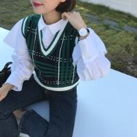 学院风复古拼色图案格纹墨绿 领针织马甲背心女休闲百搭短款坎肩 均码