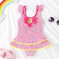 女孩中小童裙式花朵蝴蝶结游泳衣1-3岁宝宝泳装儿童可爱连体泳衣