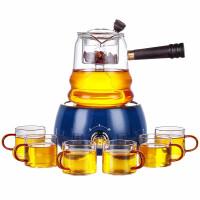 唐丰玻璃煮茶器侧把过滤壶家用蒸煮茶壶圆形电热茶炉透明木把壶