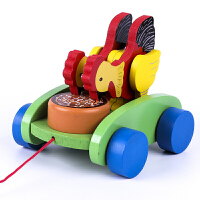 儿童玩具手拉车 儿童拖拉学步玩具婴儿宝宝拉车玩具动物敲鼓手拉绳拉线玩具车