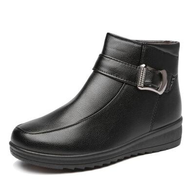女棉鞋冬季妈妈鞋女靴加绒中老年保暖女鞋雪地靴皮鞋女   批量拍下不发货