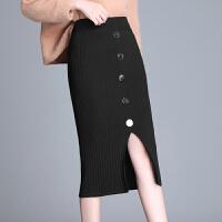 针织半身裙女秋冬高腰中长款字裙毛线开叉一步裙黑色弹力包臀裙