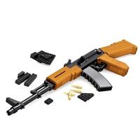 儿童兼容乐高积木奥斯尼拼装积木枪军事系列组装模型AK47拼装积木枪玩具 22706(AK47突击积木617片)