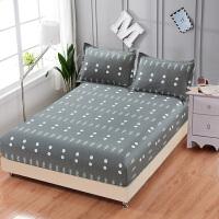 纯棉床笠单件全棉1.8m米床套保护套1.5防滑防尘罩席梦思床罩 深灰色 花开五度