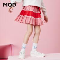 MQD童装女童百褶裙2020春装新款儿童条纹撞色拼接短裙运动休闲裙