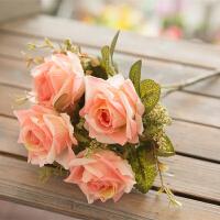 单支假花仿真花束玫瑰花向日葵客厅装饰品摆设插花卉干花小把绢花