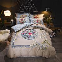 全棉四件套纯棉印花套件1.8m2.0米双人床单被套简约婚庆床上用品