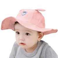 儿童帽春秋季遮阳帽盆帽沙滩帽夏天婴儿帽子男女宝宝大檐渔夫帽