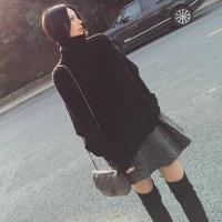 晚秋女神范气质套装秋赫本风网红毛衣搭配加裙子洋气两件套女冬裙 黑毛衣+毛呢短裙