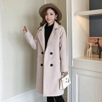 毛呢外套女中长款韩版2018新款流行呢子大衣女中长款秋冬款加厚 米白色 收藏先发货