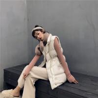 韩国外套冬装女2018新款收腰中长款立领手塞百搭宽松马甲外套 均码
