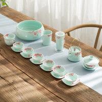 【新品】景德镇手绘青瓷茶具家用荷花功夫陶瓷套装整套青花瓷白瓷茶杯茶壶