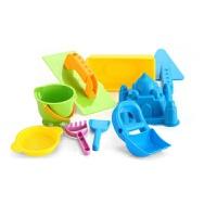 沙滩玩具 儿童玩沙工具套装 宝宝挖沙子玩具车 铲子沙漏 带有蓝色挖沙手套装 9件套