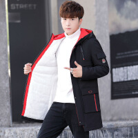 棉衣男学生韩版中长款加厚棉袄冬季青年修身青少年加绒外套潮 06款加绒棉衣黑色 L