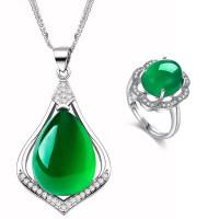 天然绿玉髓项链吊坠女纯银实用锁骨刻字首饰送妈妈婆婆母亲节礼物