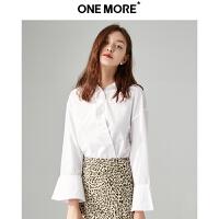 【ONEMORE大牌日 品牌秒杀 仅限9.20 到手价:117】ONE MORE2019春装新款白色衬衫女喇叭袖洋气上