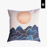 现代简约创意日式棉麻抱枕沙发靠垫床头办公室靠背午休枕中式枕套