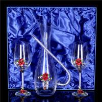 【好货】珐琅彩创意无铅水晶高档红酒杯大号高脚杯葡萄酒杯子结婚礼物套装