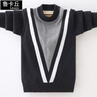 中大童套头打底衫韩版男童加绒加厚毛衣儿童针织衫男孩线衣