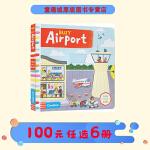 Busy Airport 系列纸板书 英文原版绘本0 3 6岁 繁忙忙碌的机场 纸板机关操作活动书 幼儿启蒙学习 亲子