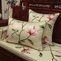 新玉兰图刺绣靠垫中式古典红木沙发坐垫实木家具圈椅罗汉床餐椅垫 米色(玉兰花)