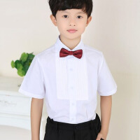 男孩钢琴礼服衬衣白色大童装男童短袖白衬衫儿童节目表演出服装