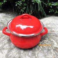 日式汤锅1.3升 精品16cm珐琅搪瓷泡面碗带保鲜盖燃气电磁炉通用 红(送保鲜盖) 16CM-1.3升 锅