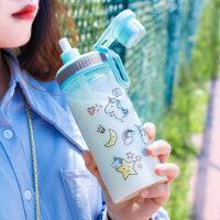 吸管水杯女ins玻璃杯学生创意可爱便携刻度韩国个性潮流网红杯子